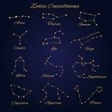 手拉的金子传染媒介黄道带星座设置了12个标志iso 库存照片