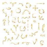 手拉的金箭头设置了由白垩或淡色纹理,传染媒介例证制成 向量例证