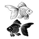 手拉的金鱼 免版税库存照片