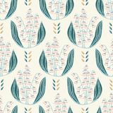 手拉的铃兰花卉锦缎例证 模式无缝的向量 库存例证