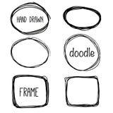 手拉的铅笔乱画框架 剪影设计观念 库存图片