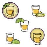 手拉的集合射击龙舌兰酒 向量例证