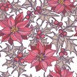 手拉的霍莉枝杈和一品红花无缝的样式 免版税库存照片
