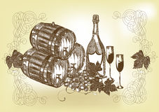 手拉的静物画用酒和香槟 免版税库存照片