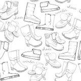 手拉的鞋子的剪影无缝的样式 跑鞋运动鞋,起动,触发器,起动,鹿皮鞋,游手好闲者与 皇族释放例证