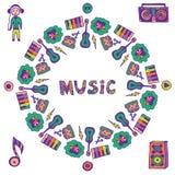 手拉的音乐框架 音乐乱画五颜六色的象 飞行物的,横幅,海报,盖子模板 免版税图库摄影