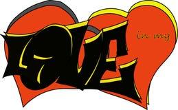 手拉的题字'爱在一位独特的作者的字体'做的我的心脏,使用黑和黄色颜色,有红色背景他 库存例证