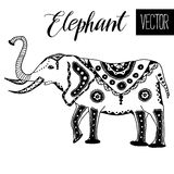 手拉的风格化大象 免版税图库摄影