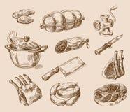 手拉的食物剪影 向量例证