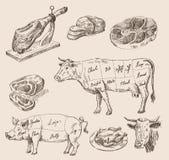 手拉的食物剪影 免版税库存图片