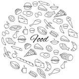 手拉的食物圆的集合 免版税库存图片