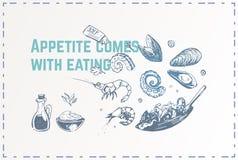 手拉的食物海报设计 向量背景 库存例证