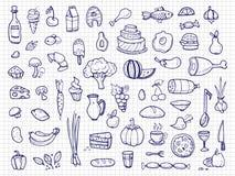 手拉的食物,菜,饮料,快餐,快餐乱画传染媒介象 皇族释放例证