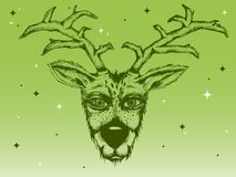 手拉的驯鹿和闪闪发光的绿色构成 库存照片