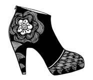 手拉的高跟鞋鞋子例证 免版税图库摄影