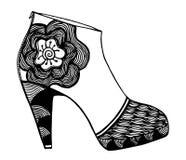 手拉的高跟鞋鞋子例证 免版税库存图片