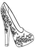 手拉的高跟鞋鞋子例证 免版税库存照片