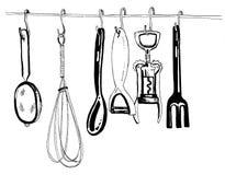 手拉的黑白厨房工具 皇族释放例证