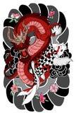 手拉的龙和koi钓鱼与胳膊的,日本鲤鱼线描彩图传染媒介图象花纹身花刺 免版税库存图片