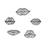 黑手拉的嘴唇无缝的样式 免版税库存图片