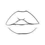 手拉的嘴唇,被隔绝的色的嘴唇 向量方式例证 库存照片