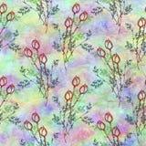 手拉的织地不很细花卉背景 与花和叶子的葡萄酒五颜六色的模板 库存图片