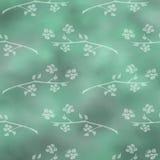 手拉的织地不很细花卉背景 与花和叶子的葡萄酒绿色模板 图库摄影