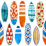 手拉的水彩冲浪板无缝的样式 库存照片