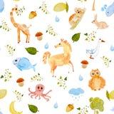 手拉的水彩无缝的动物样式 免版税库存照片