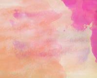手拉的水彩淡色红色和黄色被绘的纹理质量 免版税库存照片