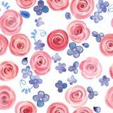手拉的水彩玫瑰和逗人喜爱的小的花无缝的样式 免版税库存图片