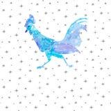 手拉的水彩雪雄鸡新年2017年 免版税图库摄影
