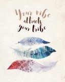 手拉的水彩绘画充满活力的羽毛背景 漂泊行情 向量例证