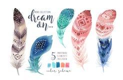 手拉的水彩绘画充满活力的羽毛集合 Boho样式 库存例证