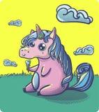 手拉的幻想动画片独角兽,逗人喜爱的乱画 免版税库存照片