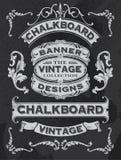 手拉的黑板横幅和丝带传染媒介设计 库存照片