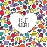 手拉的水果市场概念 心脏形状与 免版税库存图片