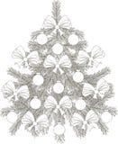 手拉的黑白剪影圣诞树 库存图片