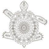 手拉的黑白装饰乌龟 免版税库存照片