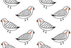 手拉的滑稽的逗人喜爱的鸟样式传染媒介 向量例证