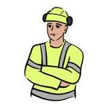 手拉的建筑工人 免版税库存图片