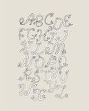 手拉的ABC质朴的信件,隔绝在轻的背景 手拉的难看的东西字母表,例证 根据漩涡的字体, 免版税库存图片