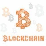 手拉的bitcoin标志和信件blockchain 免版税库存照片