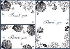 手拉的Black&White花卡片预览 库存照片