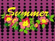 手拉的branche花玫瑰热带葡萄酒印刷品,中间影调 免版税图库摄影