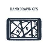 手拉的GPS设备传染媒介例证 库存图片