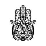 手拉的hamsa手,纹身花刺剪影,宗教标志保护 库存照片