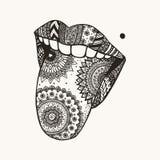 手拉的zendoodle妇女舌头为纹身花刺, T恤杉设计 图库摄影