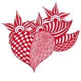 手拉的Zentangle心脏 库存照片