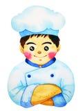 手拉逗人喜爱的厨师漫画人物的水彩绘 库存图片